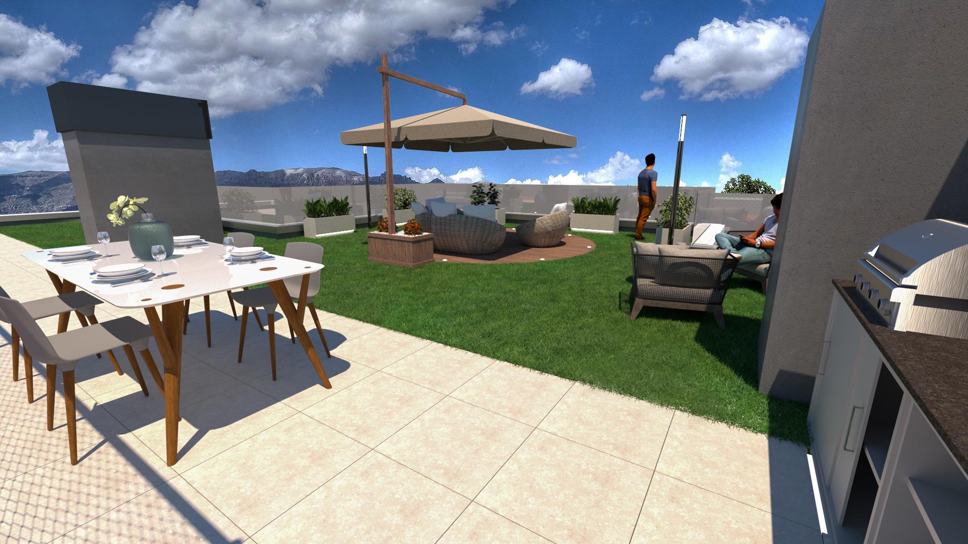 diseño 3D jardin cesped artificial Barcelona