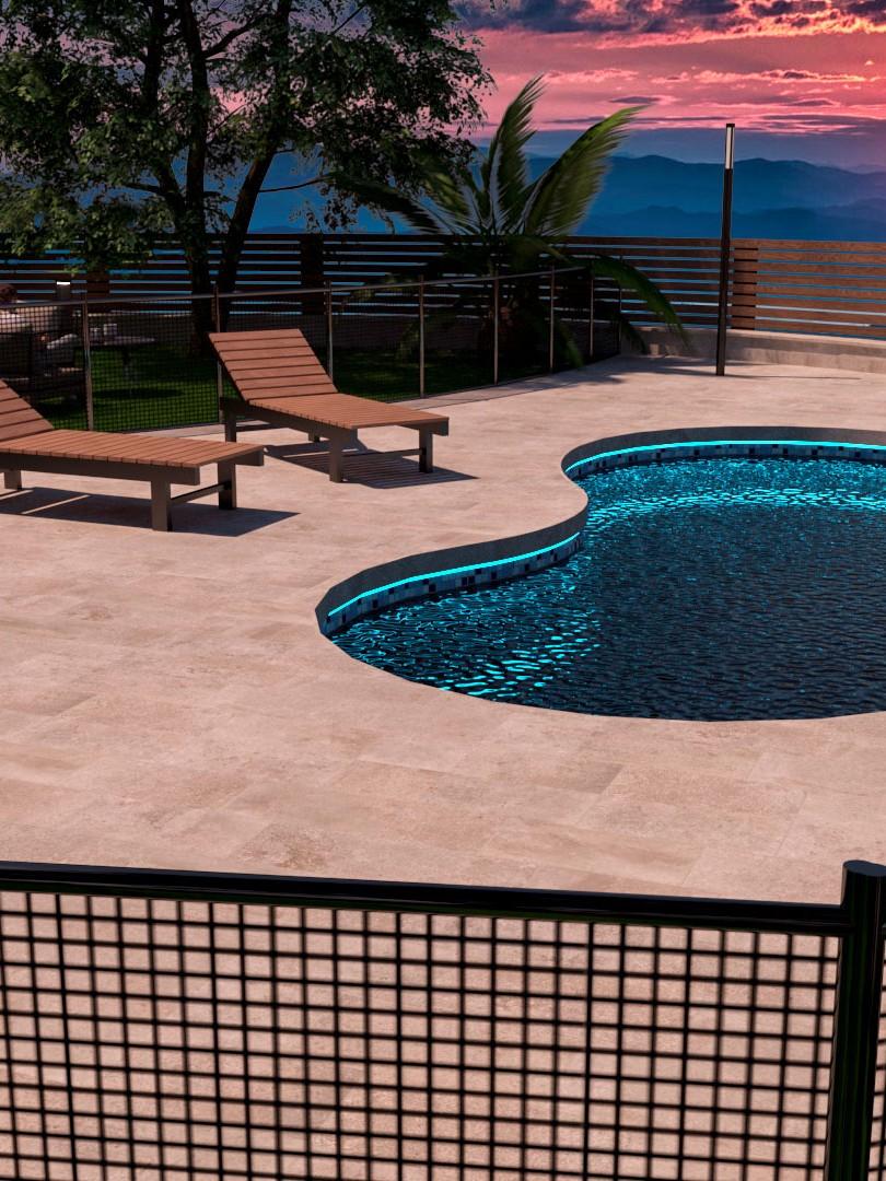 Diseño 3d de terraza con piscina barcelona